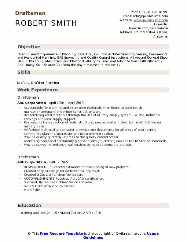 Draftsman Resume Samples Qwikresume