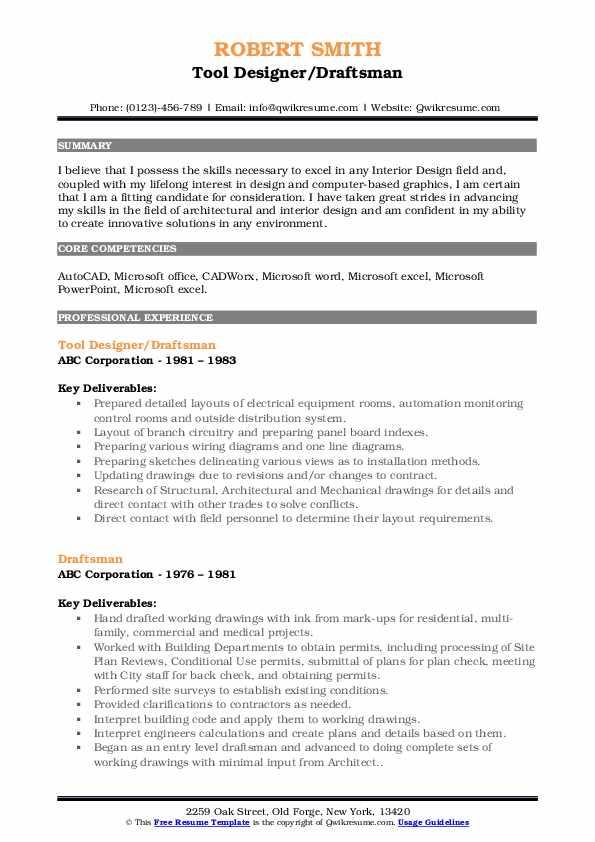 draftsman resume samples  qwikresume