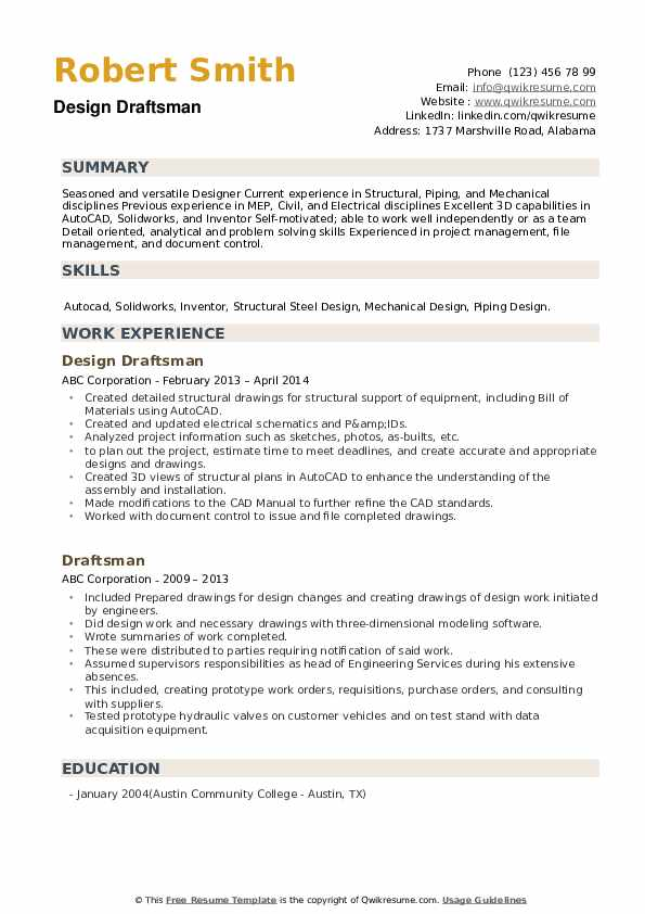 Draftsman Resume Samples | QwikResume
