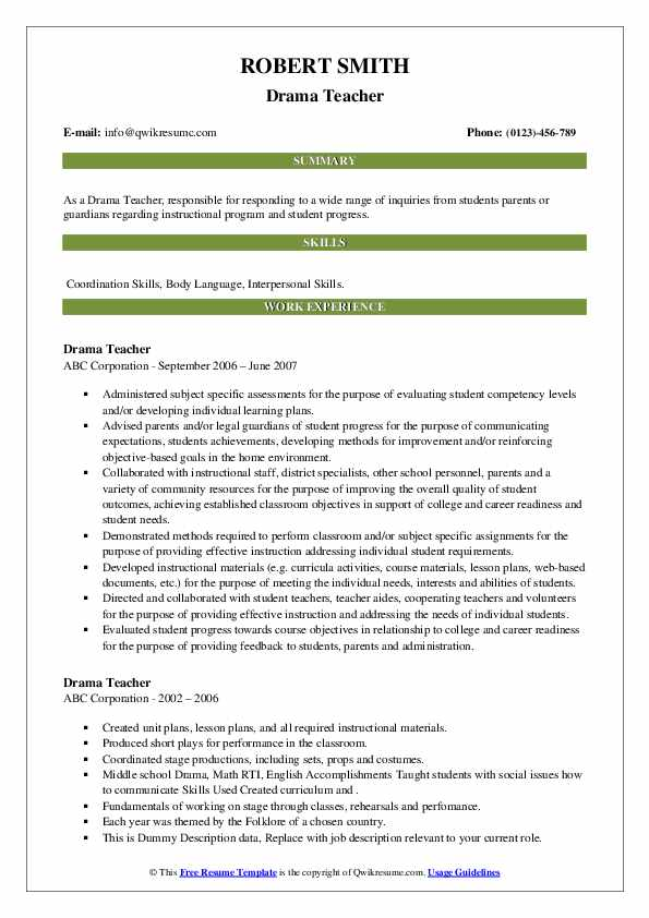 drama teacher resume samples