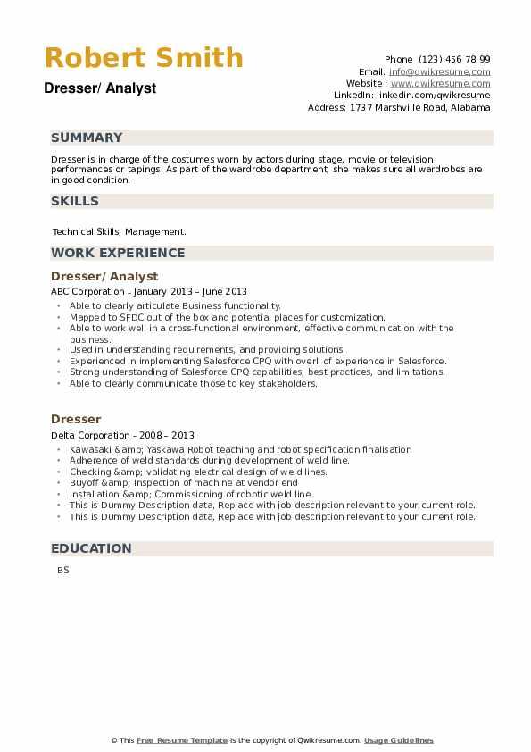 Dresser Resume example