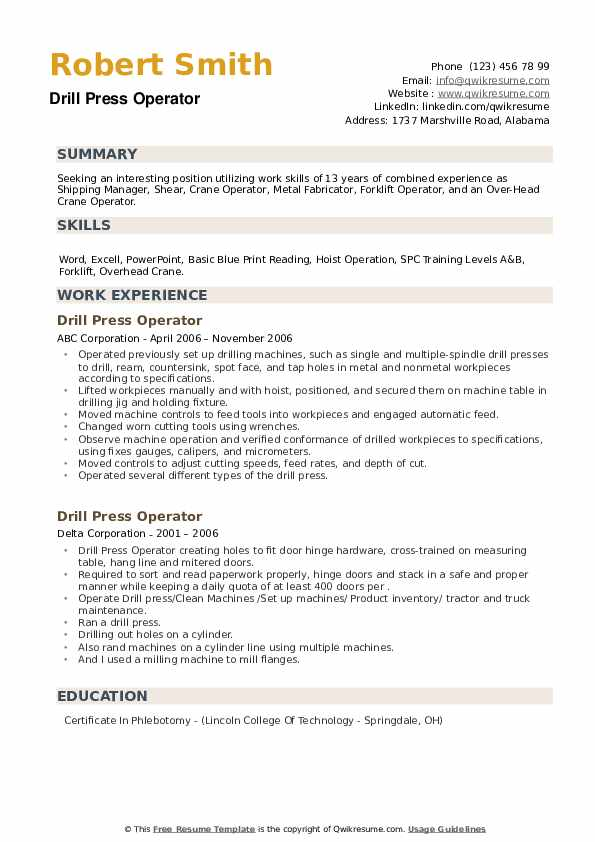 Drill Press Operator Resume example
