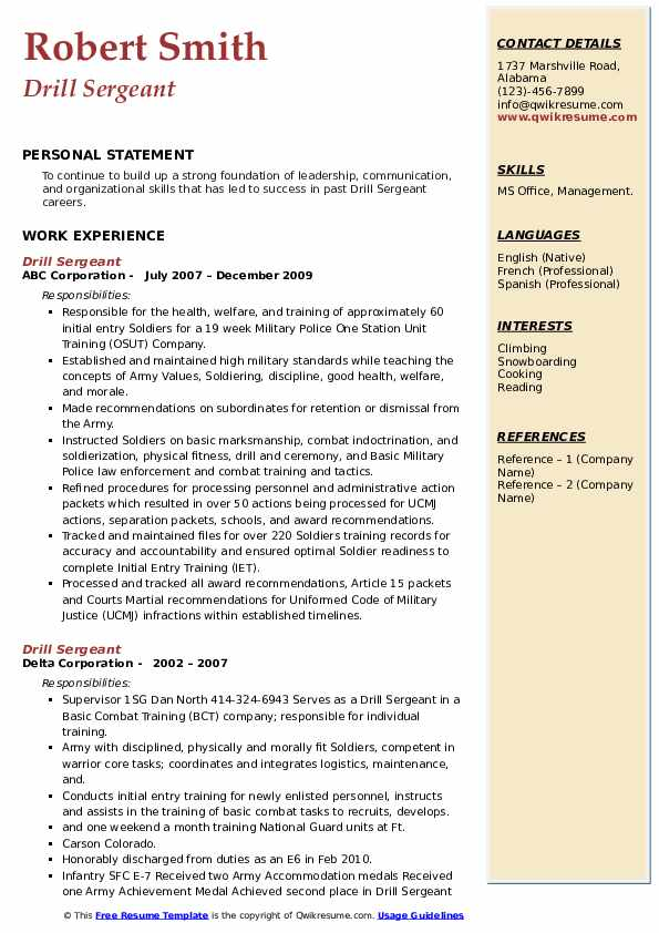 Drill Sergeant Resume example