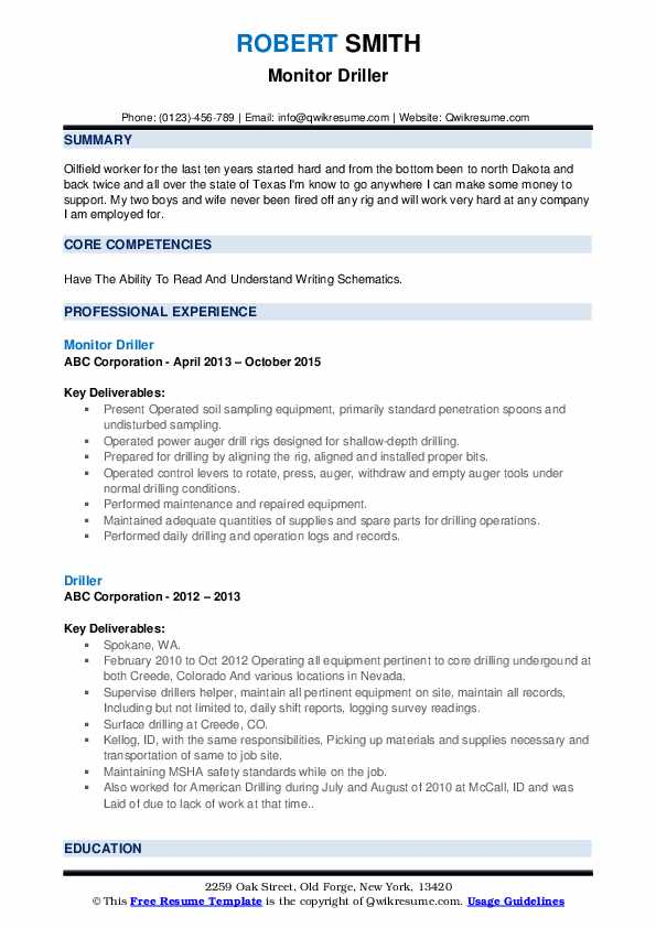 Monitor Driller Resume Template
