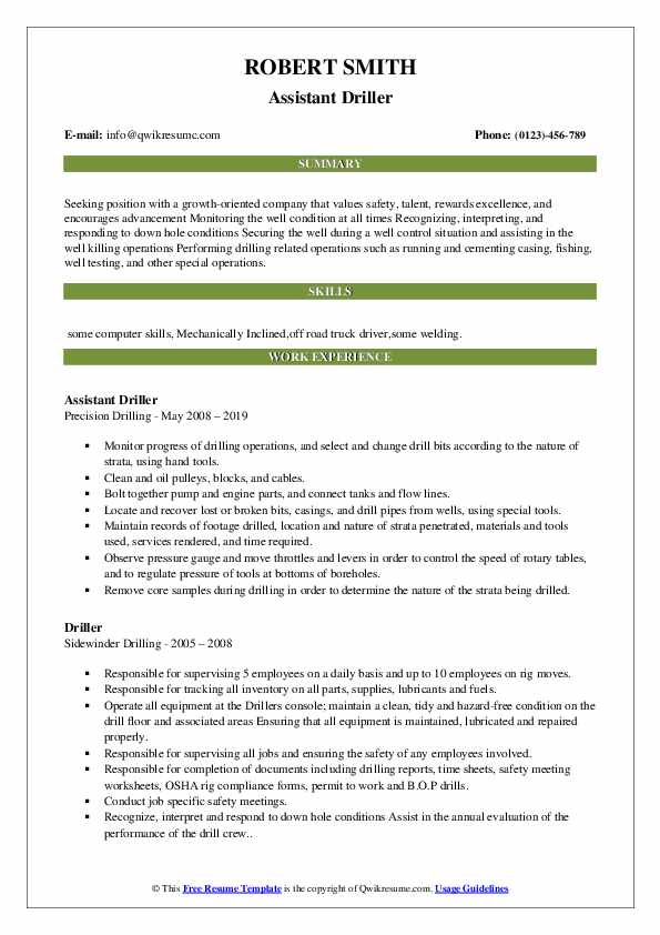 Assistant Driller Resume Sample