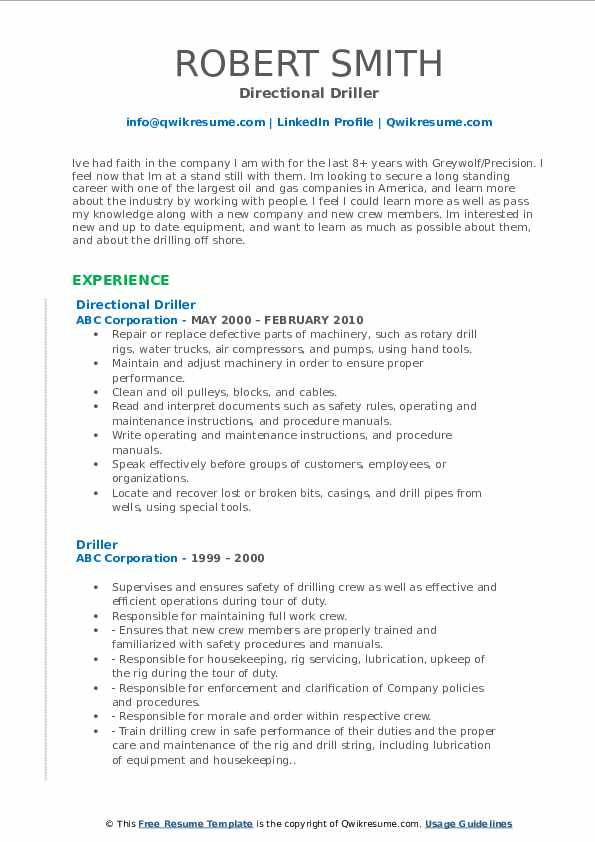 Directional Driller Resume Sample
