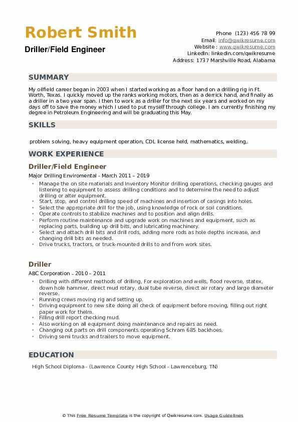 Driller/Field Engineer Resume Sample