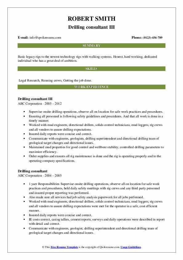 Drilling consultant III Resume Example