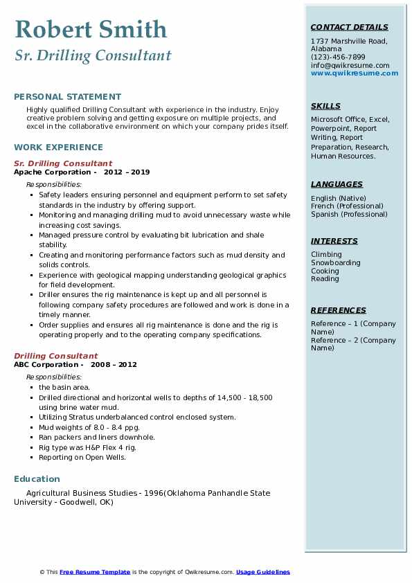 Sr. Drilling Consultant Resume Template