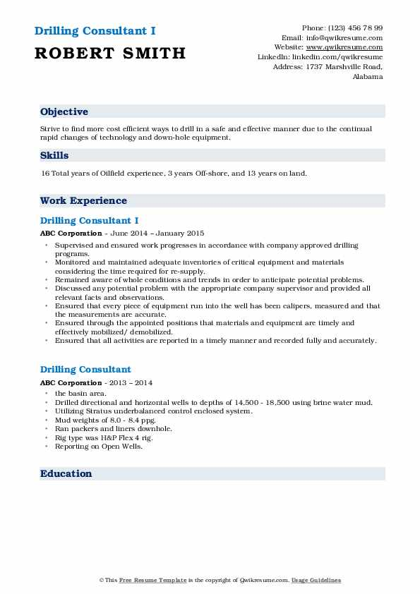 Drilling Consultant I Resume Template