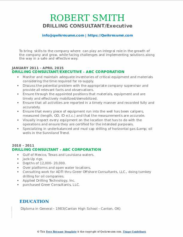 Drilling Consultant Resume Samples Qwikresume