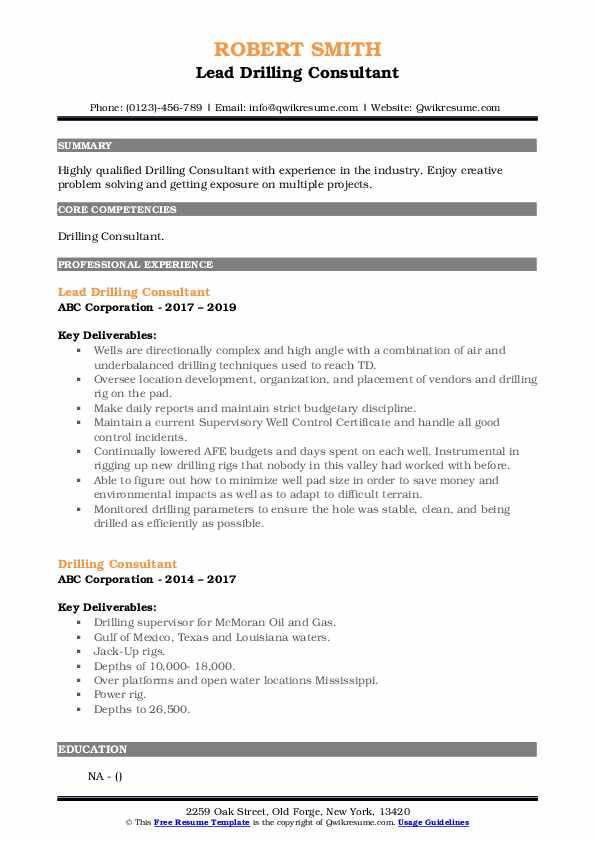 Lead Drilling Consultant Resume Template