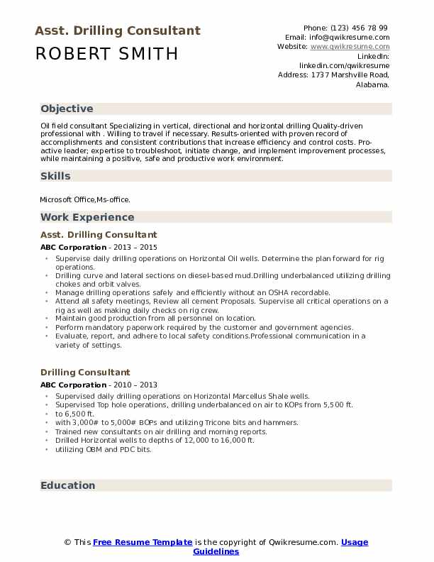Asst. Drilling Consultant  Resume Example