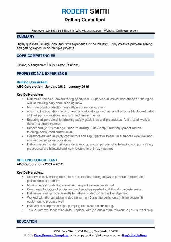 Drilling Consultant Resume example