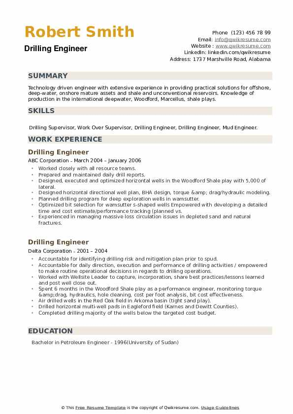 Drilling Engineer Resume example