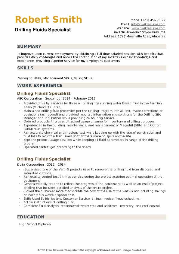 Drilling Fluids Specialist Resume example