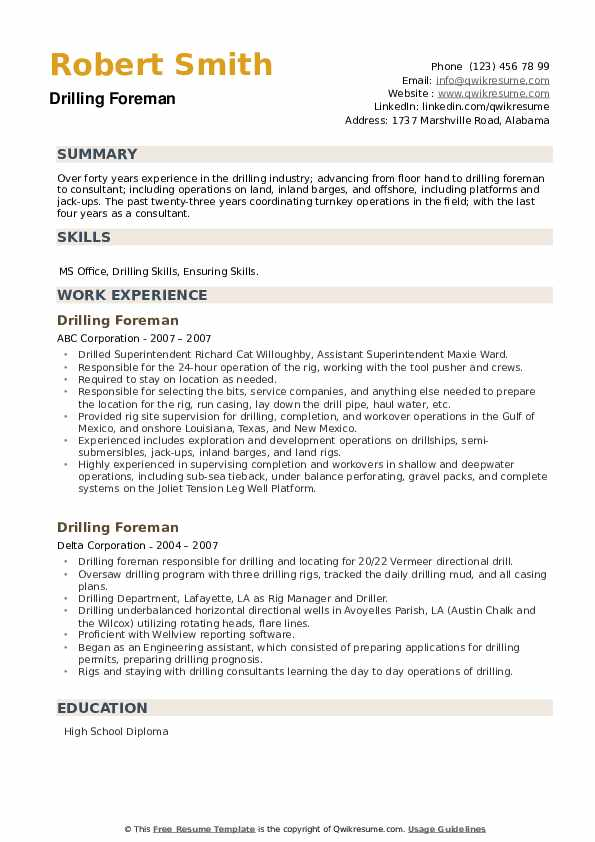 Drilling Foreman Resume example