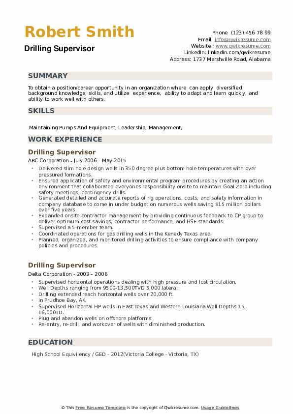 Drilling Supervisor Resume example