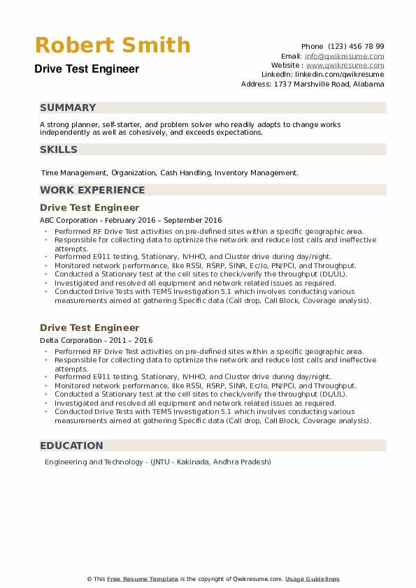 Drive Test Engineer Resume example
