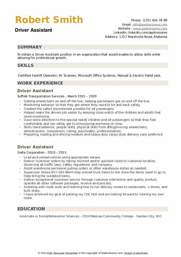 Driver Assistant Resume example