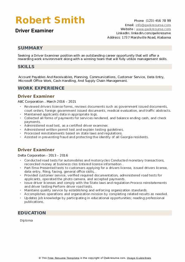 Driver Examiner Resume example