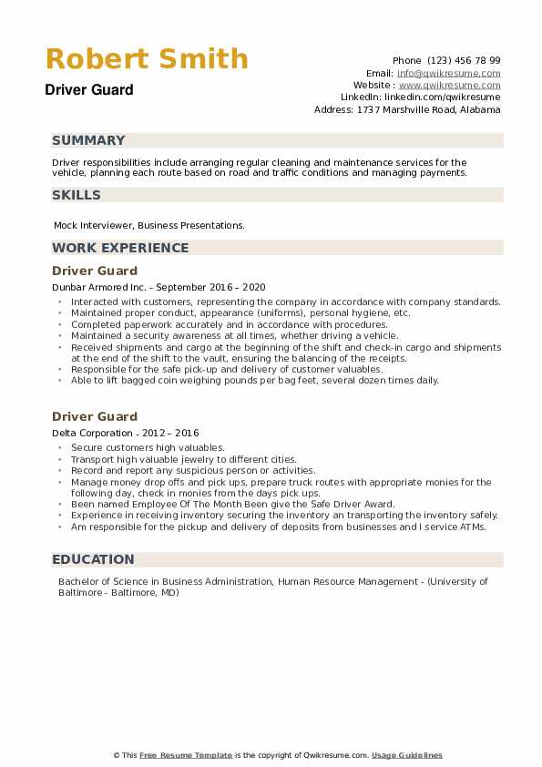 Driver Guard Resume example