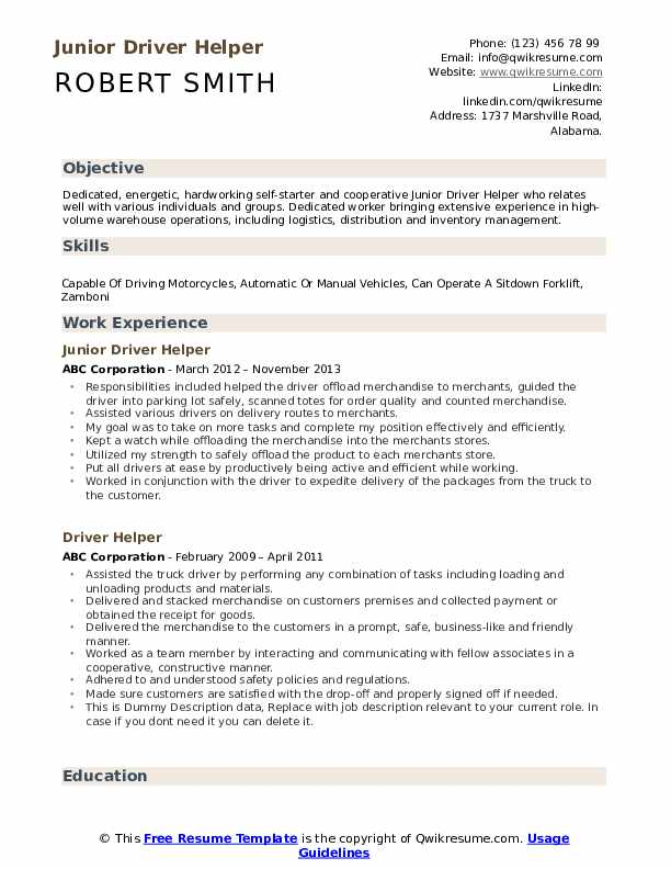 Driver Helper Resume Samples Qwikresume