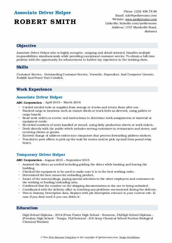 Associate Driver Helper Resume Format