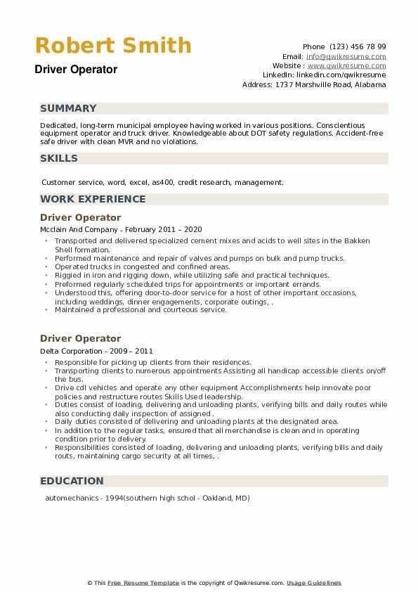 Driver Operator Resume example