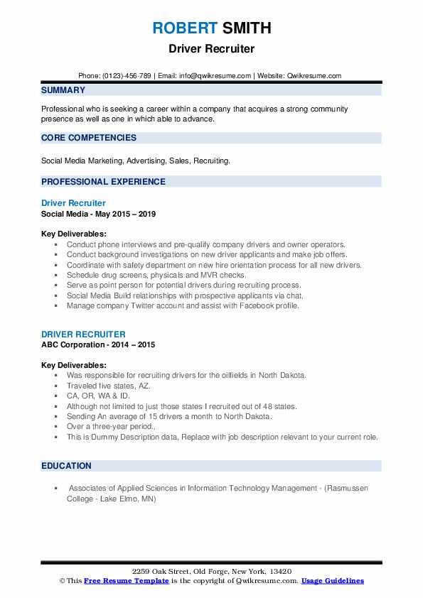 Driver Recruiter Resume example