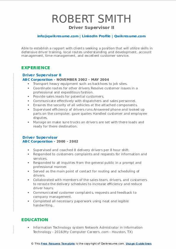 Driver Supervisor II Resume Example