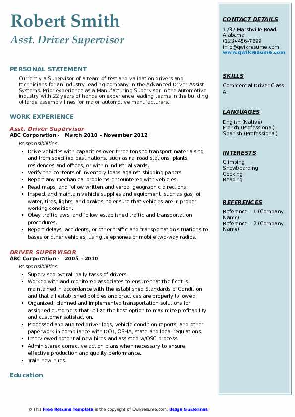Asst. Driver Supervisor Resume Sample