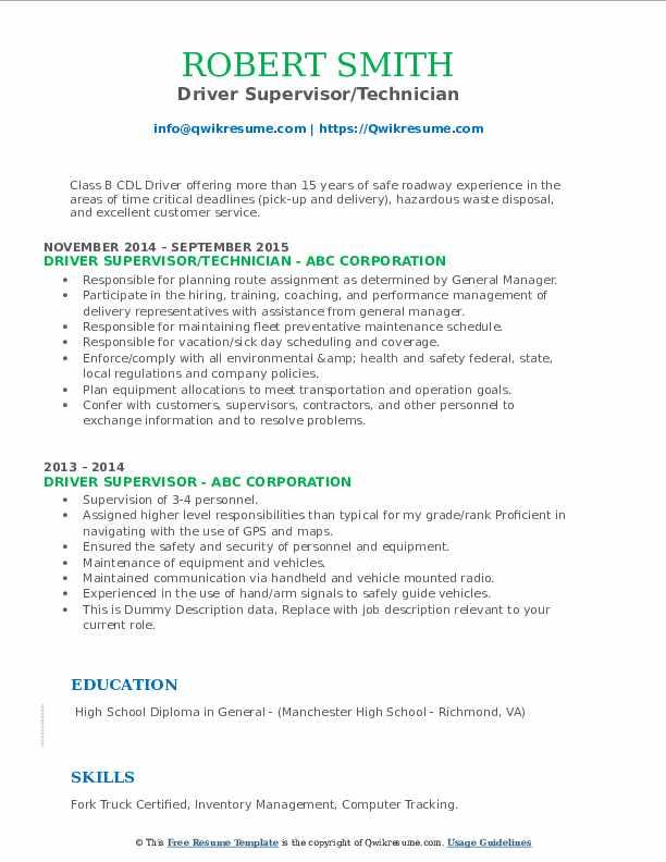Driver Supervisor/Technician Resume Example