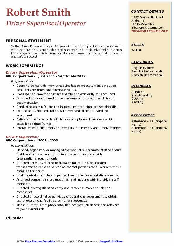 Driver Supervisor/Operator Resume Model
