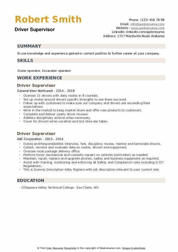 Driver Supervisor Resume example