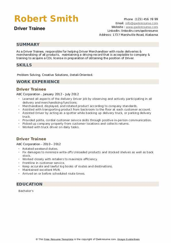 Driver Trainee Resume example
