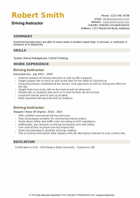 Driving Instructor Resume example
