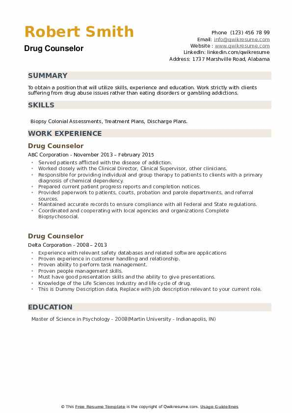 Drug Counselor Resume example