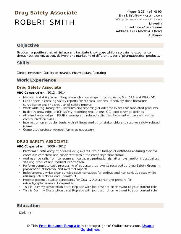 Drug Safety Associate Resume example