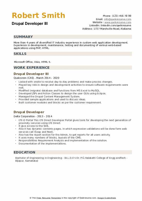 Drupal Developer Resume example