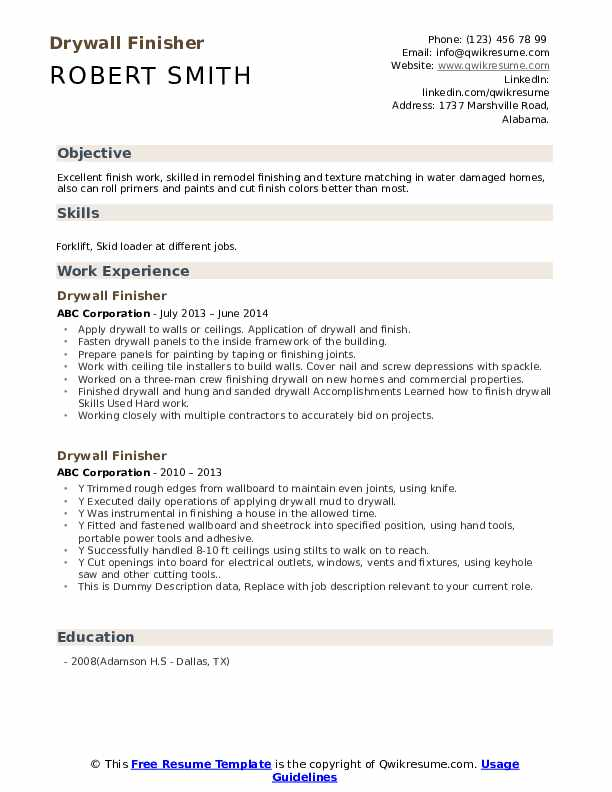 Drywall Finisher Resume example