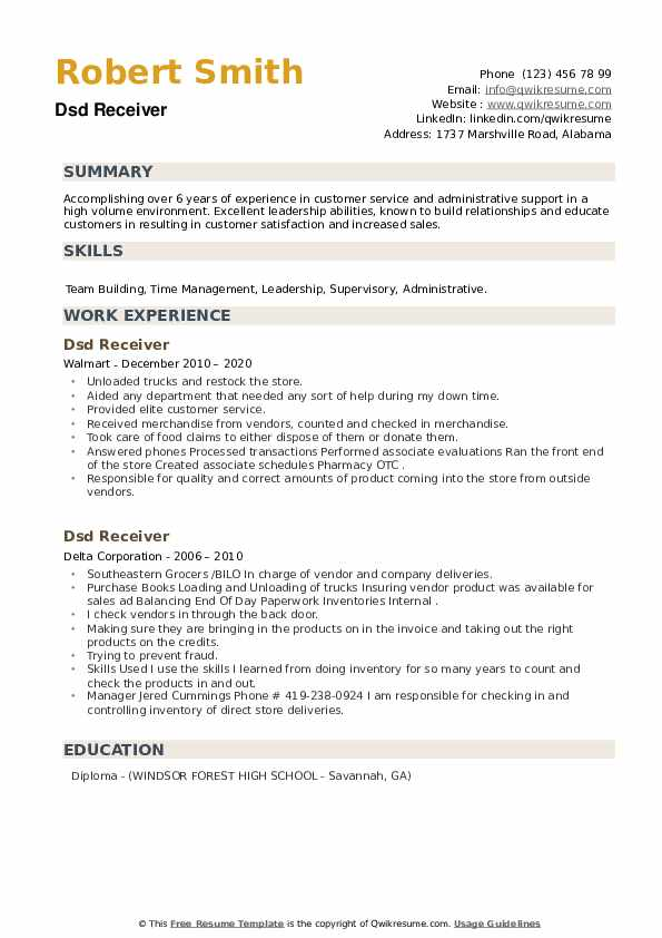 DSD Receiver Resume example