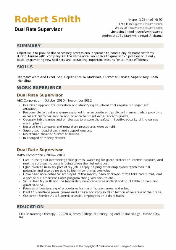 Dual Rate Supervisor Resume example