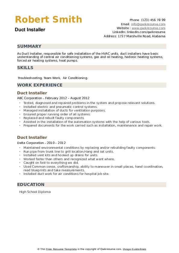 Duct Installer Resume example