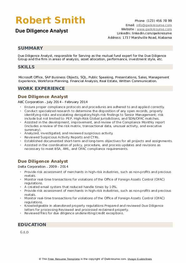 Due Diligence Analyst Resume example