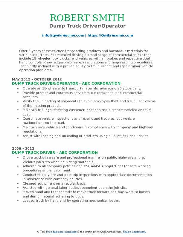 Dump Truck Driver/Operator Resume Model