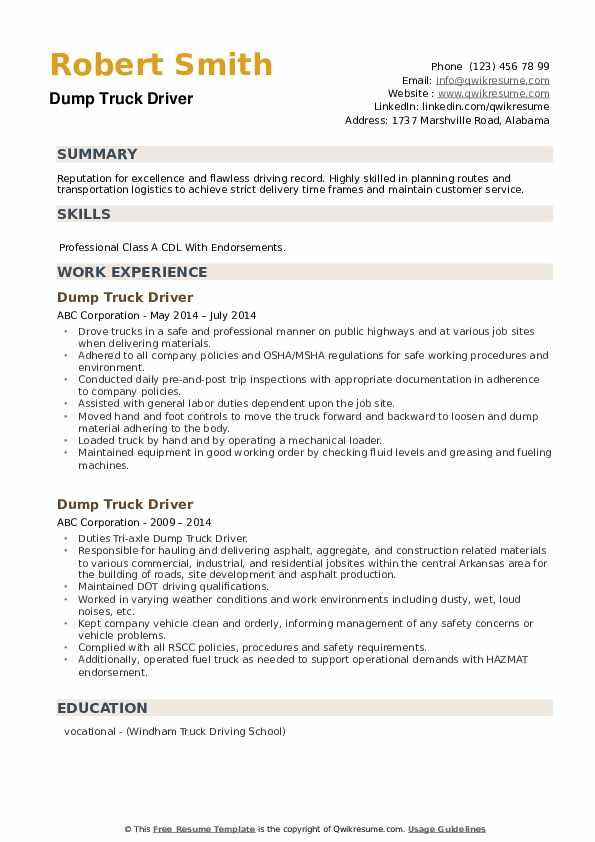 Dump Truck Driver Resume example