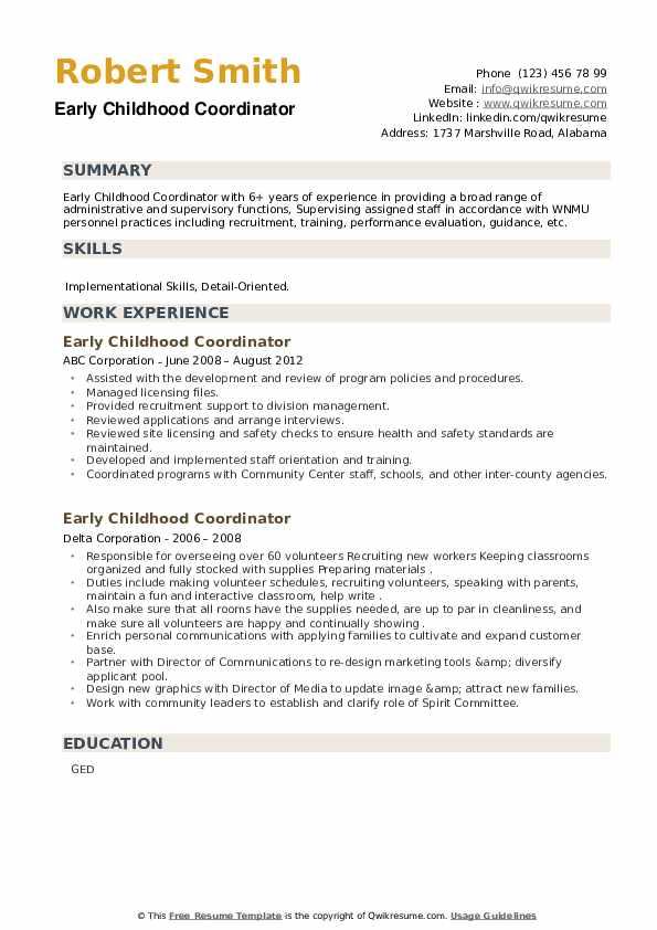 Early Childhood Coordinator Resume example