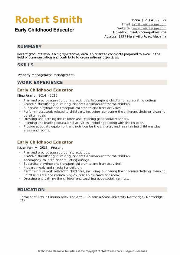 early childhood educator resume samples
