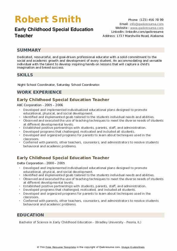 Early Childhood Special Education Teacher Resume example